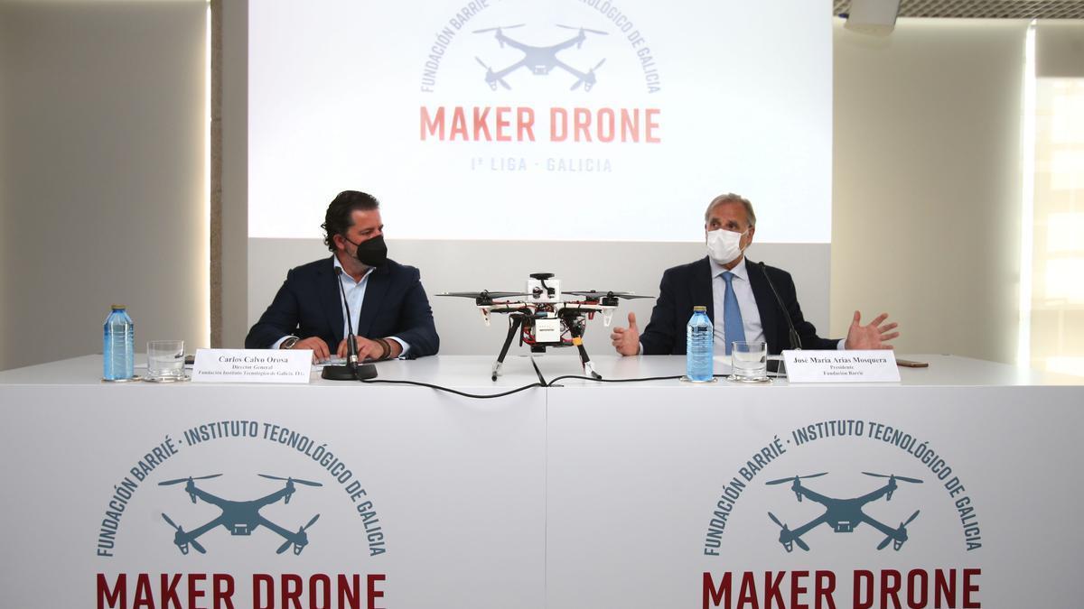 José María Arias Mosquera, presidente de la Fundación Barrié y Calvo Orosa, director general de la Fundación Instituto Tecnológico de Galicia, ITG en la presentación de la I Liga Maker Drone de Galicia.