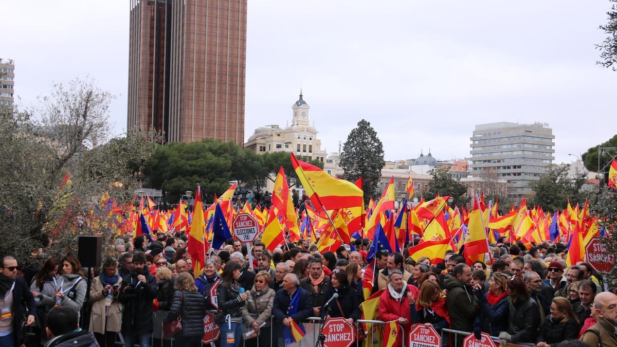 Manifestació a la plaça Colón de Madrid, al 2019.