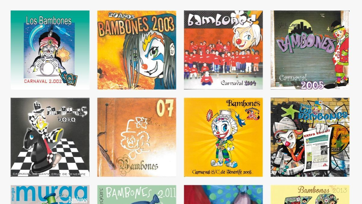 Carátulas de los 19 CD de Bambones que están en las plataformas, más ilustración del hito digital de Javier Nóbrega