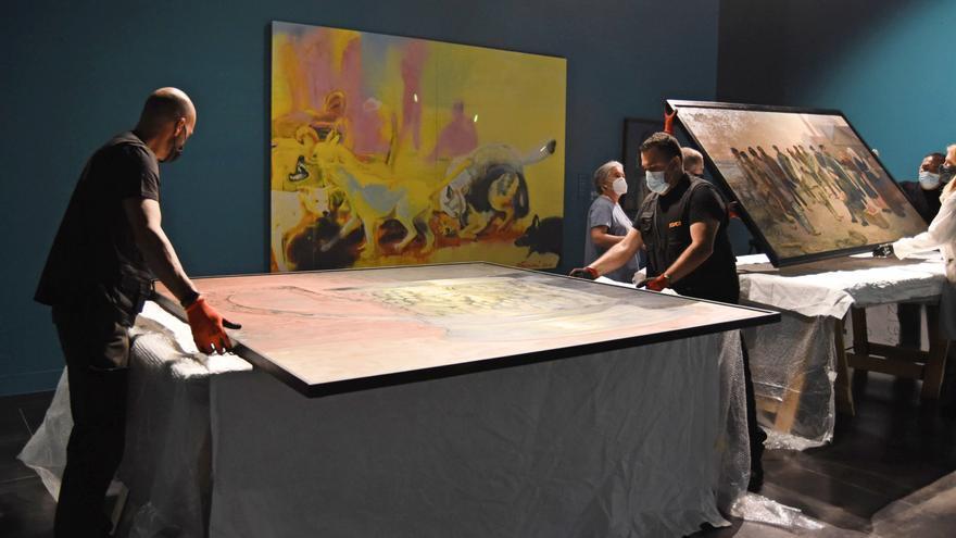 Traslado de obras en el Museo Ruso de Málaga