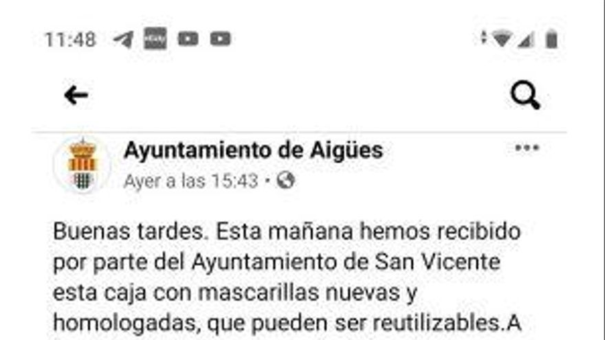 Polémica en San Vicente por el regalo de mascarillas a los vecinos de Aigües