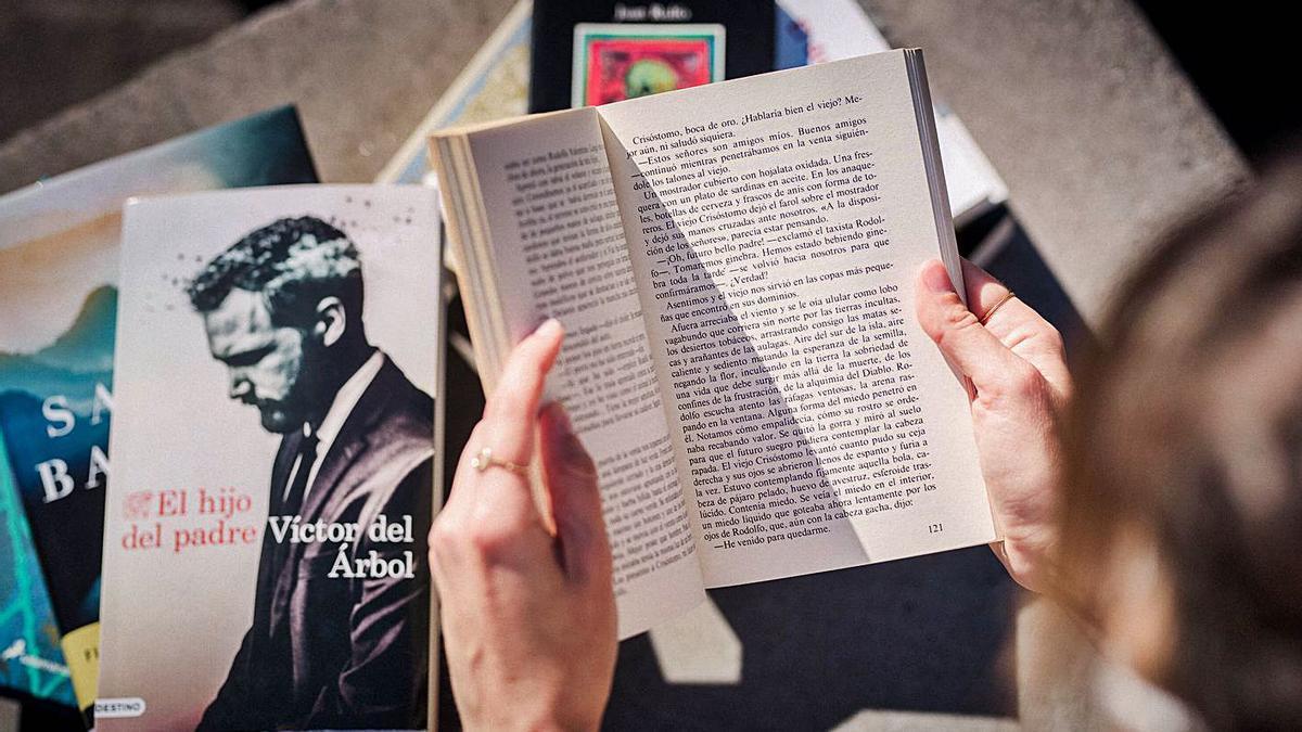 Una lectora hojea varias novelas. | | CARSTEN W. LAURITSEN
