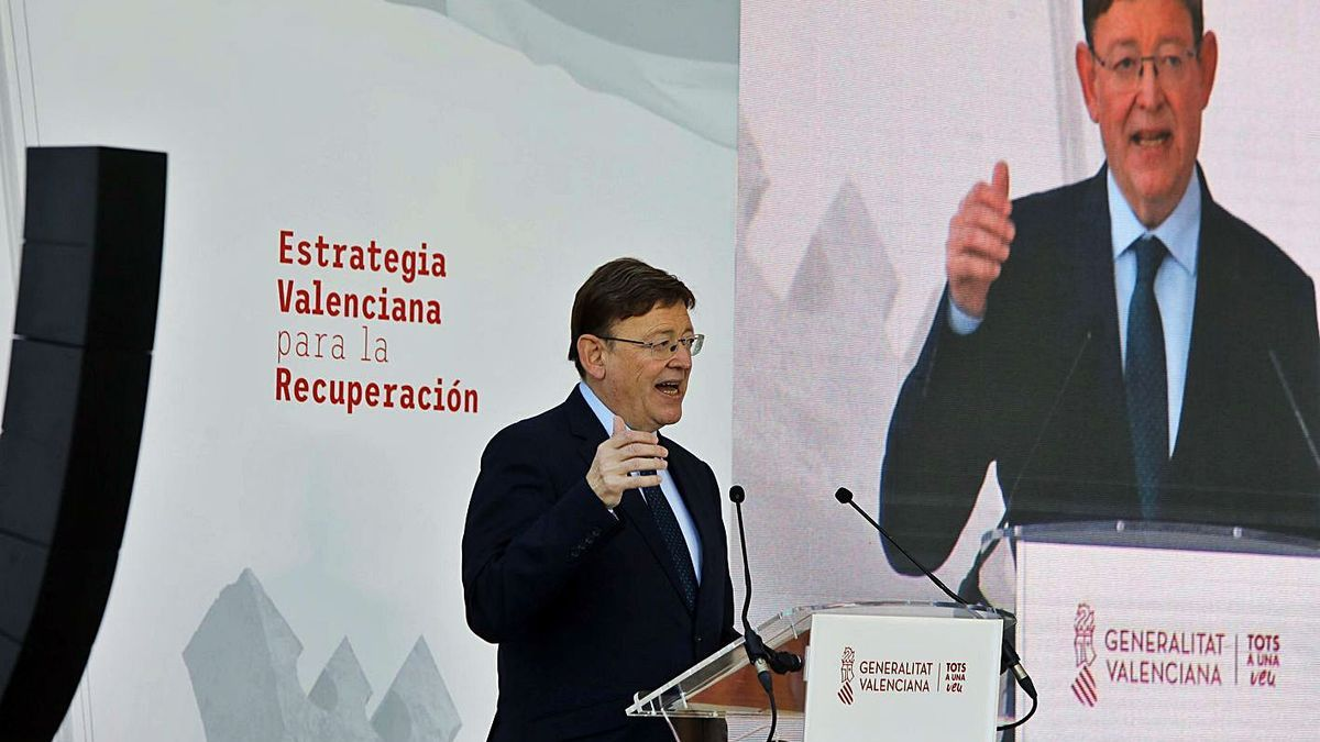 Ximo Puig, ayer, presentando la Estrategia Valenciana para la Recuperación de la Comunidad.
