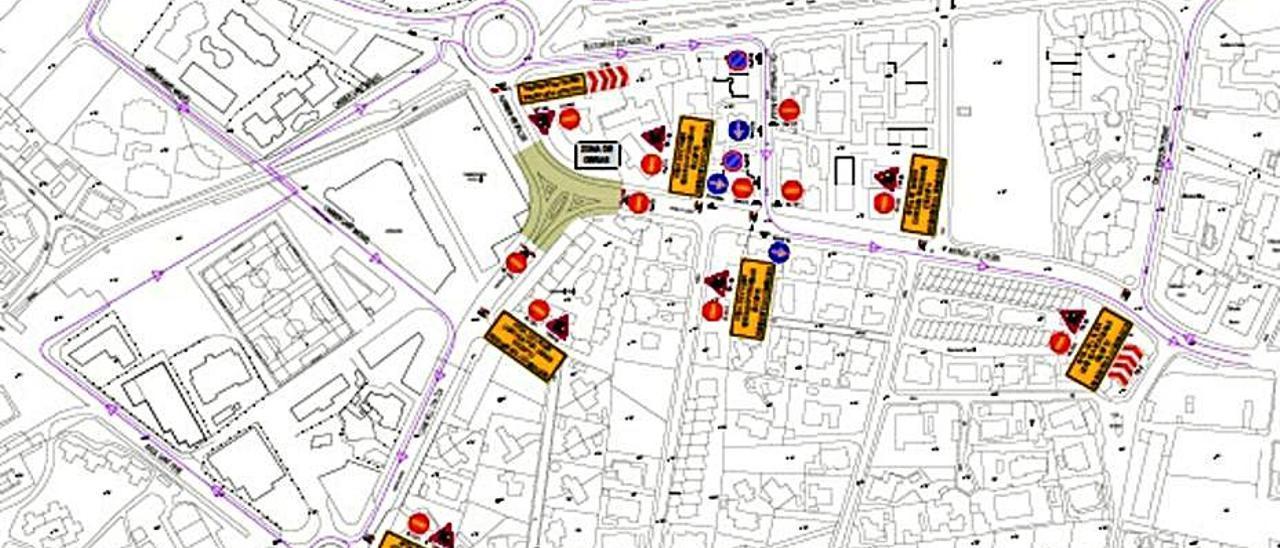 El mapa de los cortes de tráfico por las obras.  