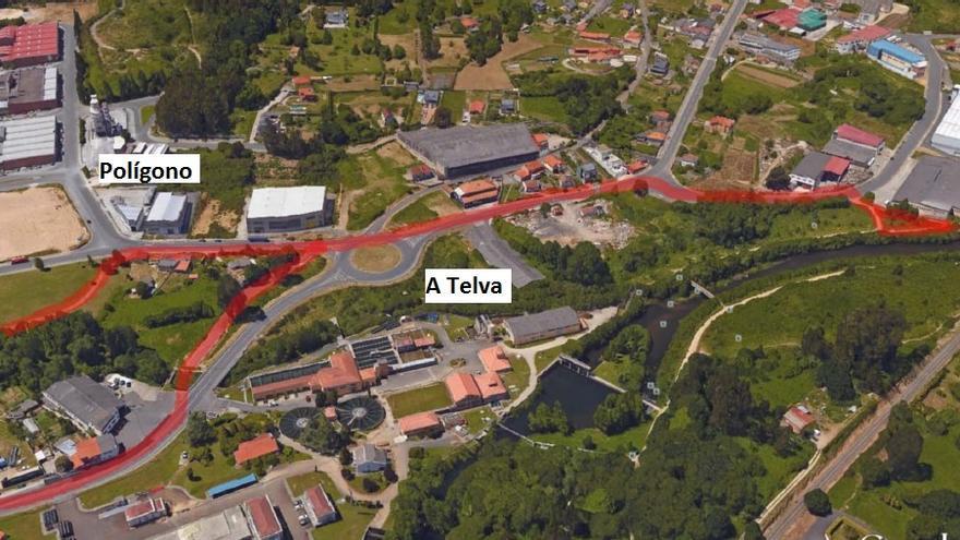 La Xunta tramita el proyecto para construir una senda peatonal y un carril bici en A Telva