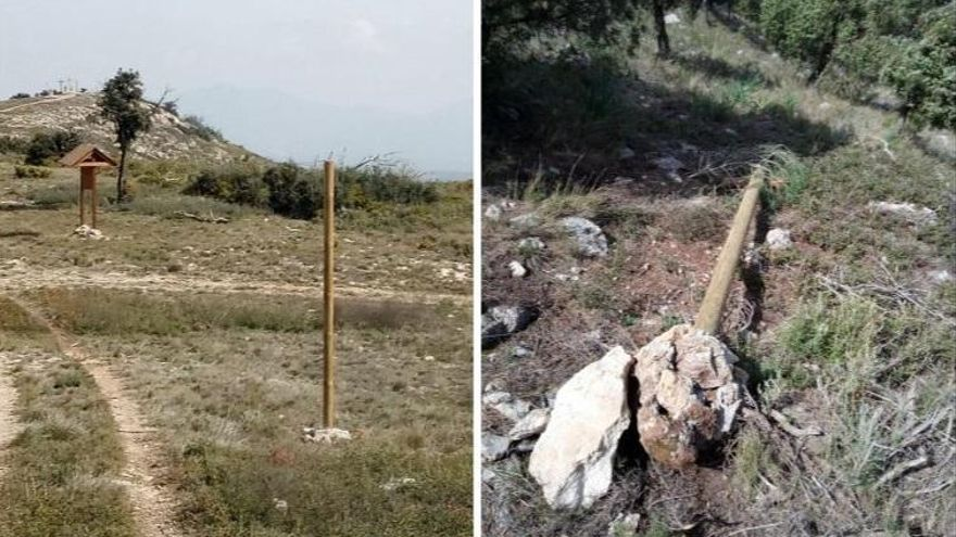 Denuncian actos vandálicos en una ruta senderista de Altura