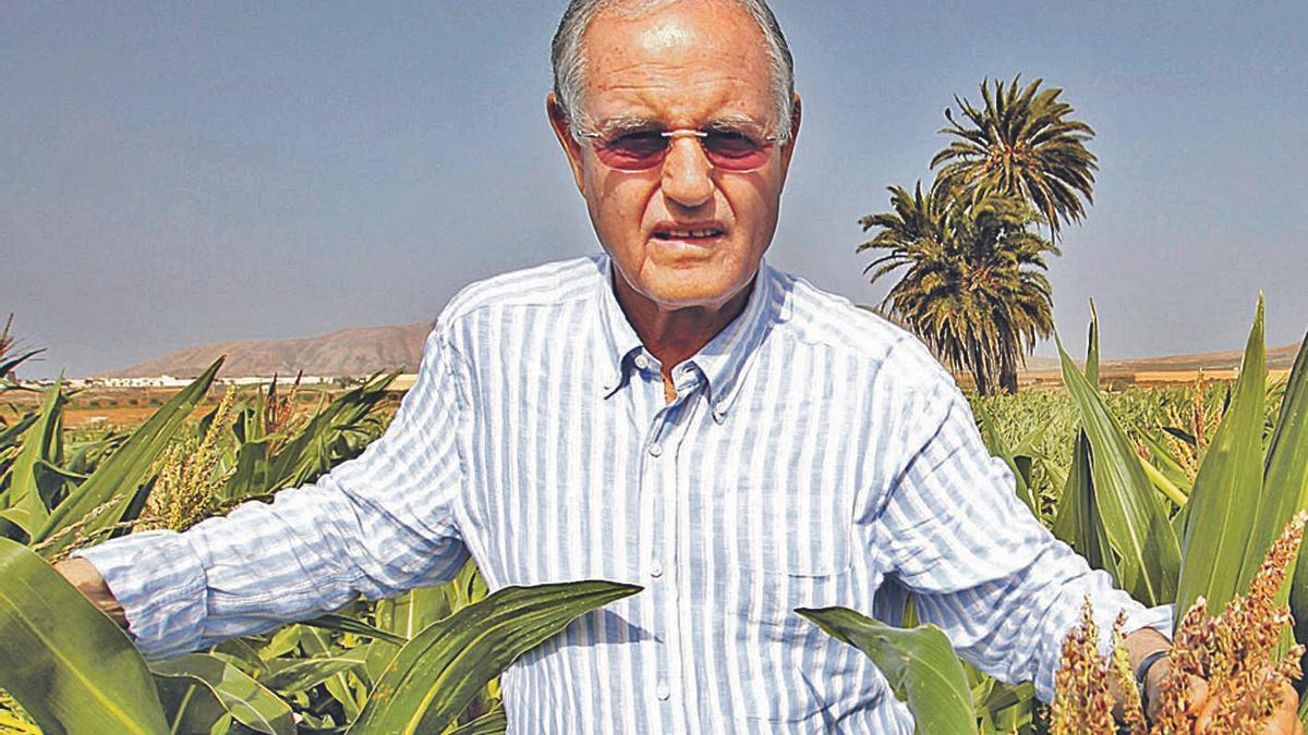 Domingo González Arroyo en una imagen de archivo, en su finca de La Oliva.