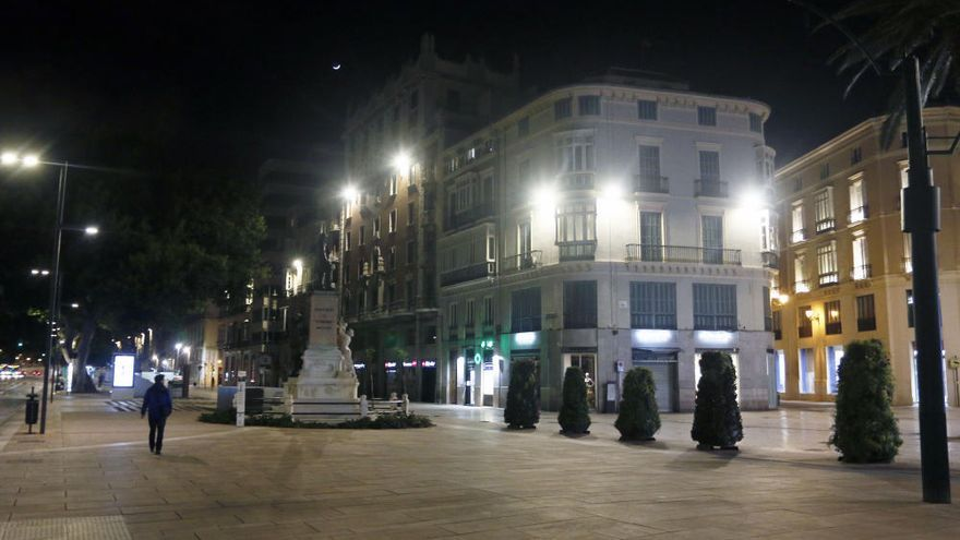 El centro de Málaga, el viernes 27 de marzo por la noche