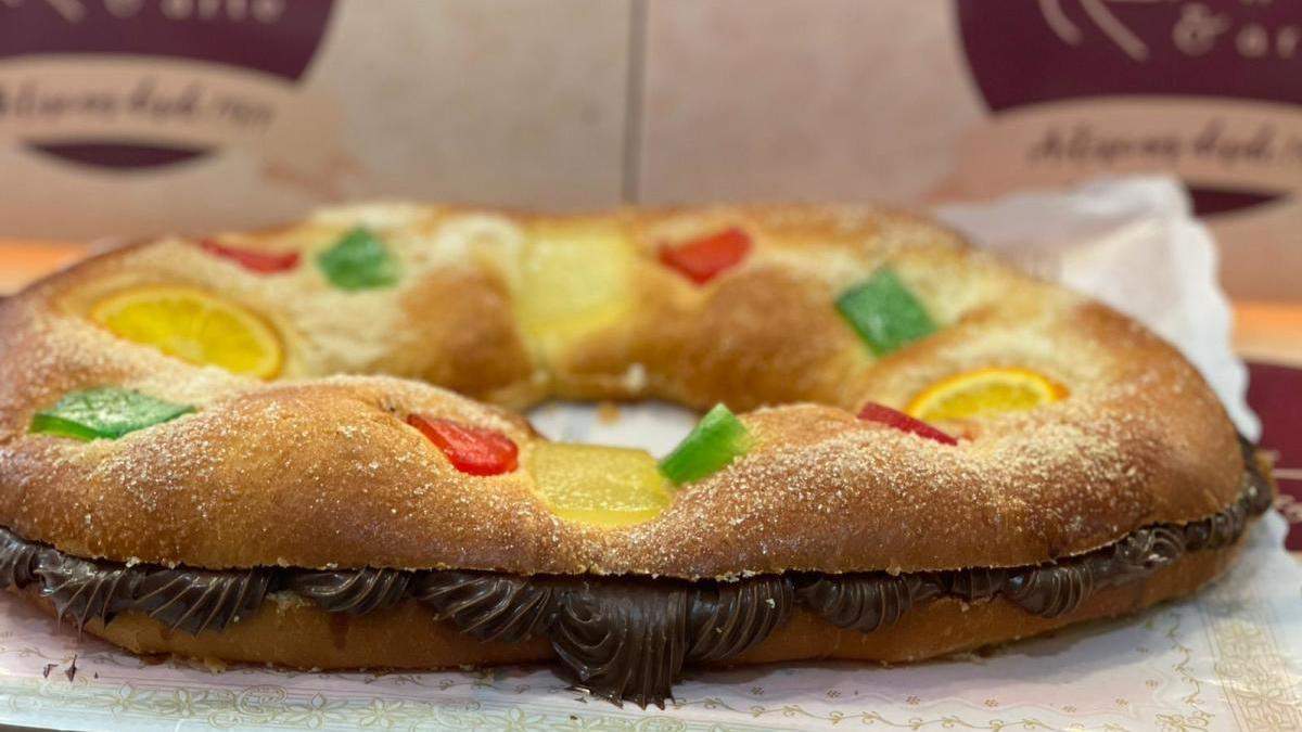 Rosco de Reyes relleno de nutella de Harina y Arte.