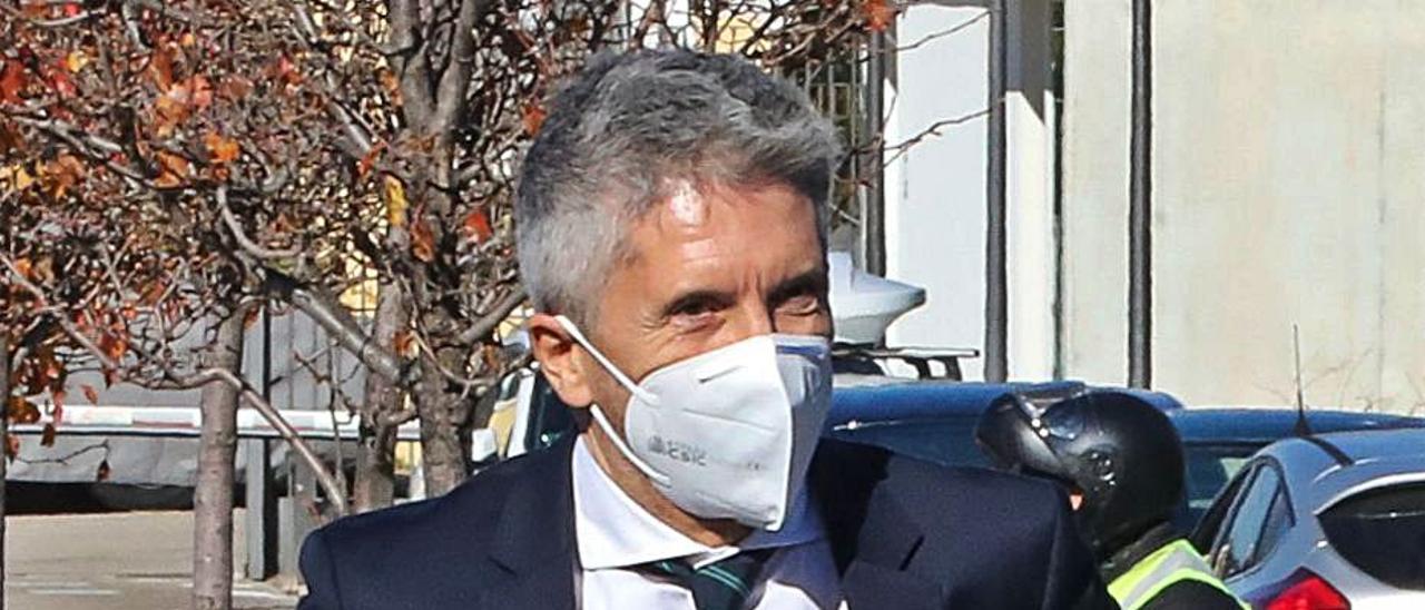 El ministro Marlaska ayer antes de un acto en Madrid.