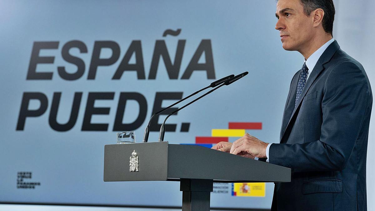 El presidente del Gobierno, Pedro Sánchez, en el momento en el que anunció la entrada en vigor de la medida.