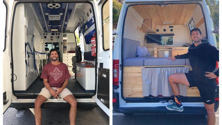 Un joven de Alicante convierte una ambulancia en una furgoneta camper y triunfa en redes sociales