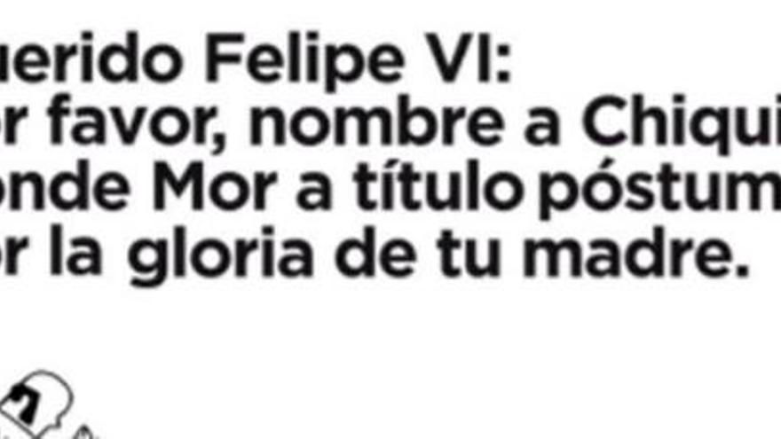 Piden a Felipe VI que nombre a Chiquito de la Calzada Conde Mor, en Galicia