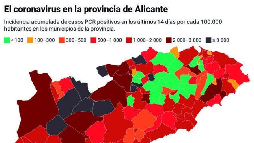 La provincia tiene ya 1.419 contagios por 100.000 habitantes y Alcoy, 3.000