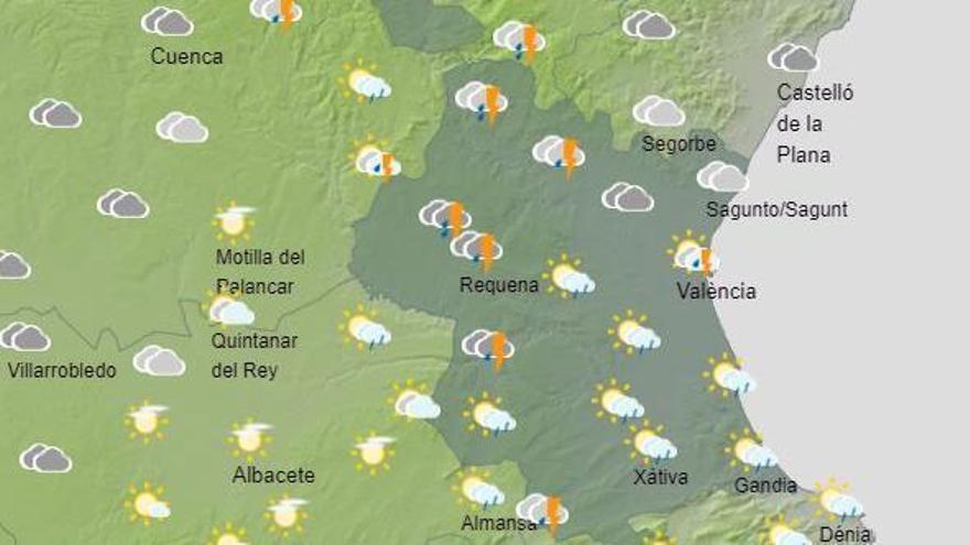 L'oratge a València demà a la província de València a primera hora del matí, segons Aemet.