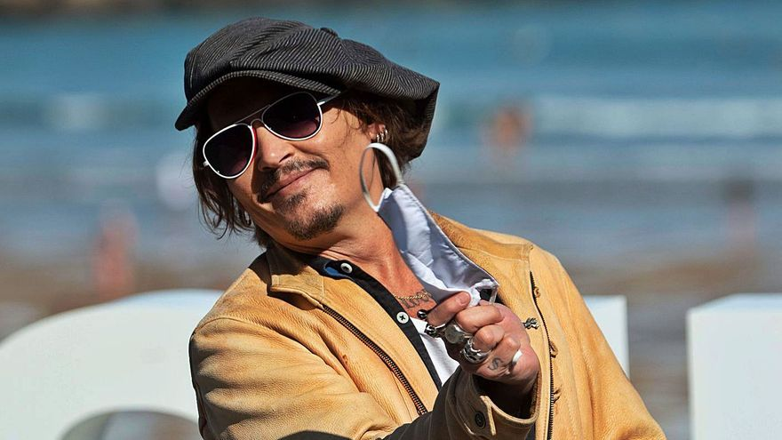 El actor Johnny Depp, ayer en el Festival de Cine de San Sebastián.