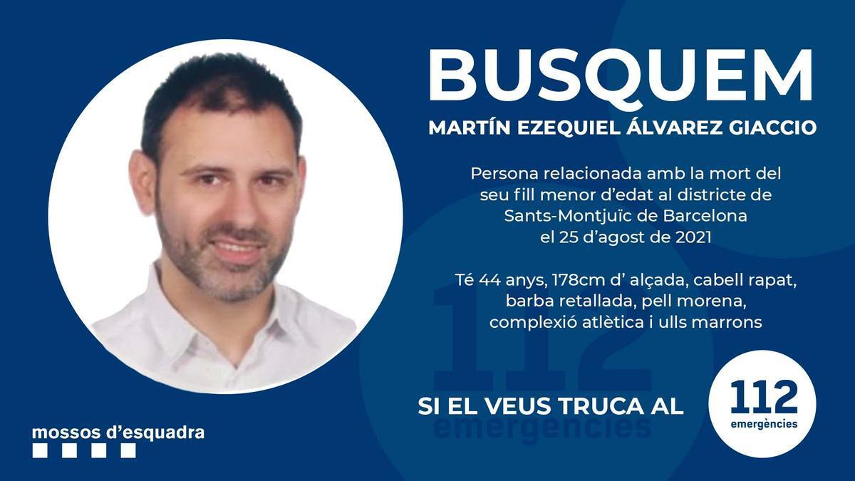 Imatge de l'anunci dels Mossos amb el nom i la fotografia del pare del nen assassinat en un hotel de Barcelona
