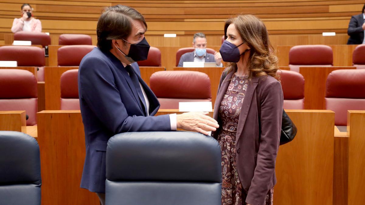 El consejero Súarez-Quiñones junto a la consejera Carlota Amigo durante el pleno de las Cortes de ayer.