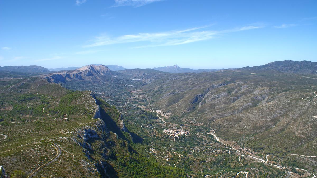 Vista aérea de la Vall de Gallinera.