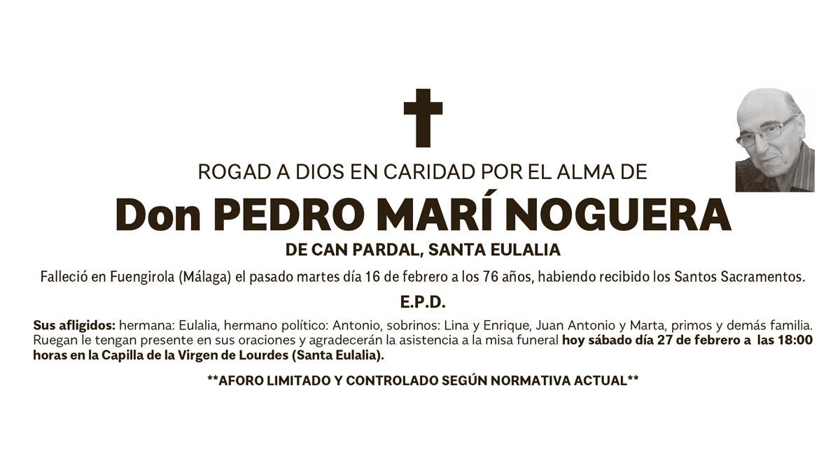 Esquela Pedro Marí Noguera