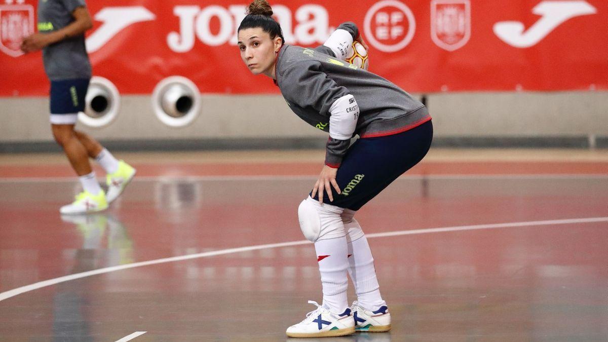 Cristina García, en una sesión de entrenamiento con la selección.