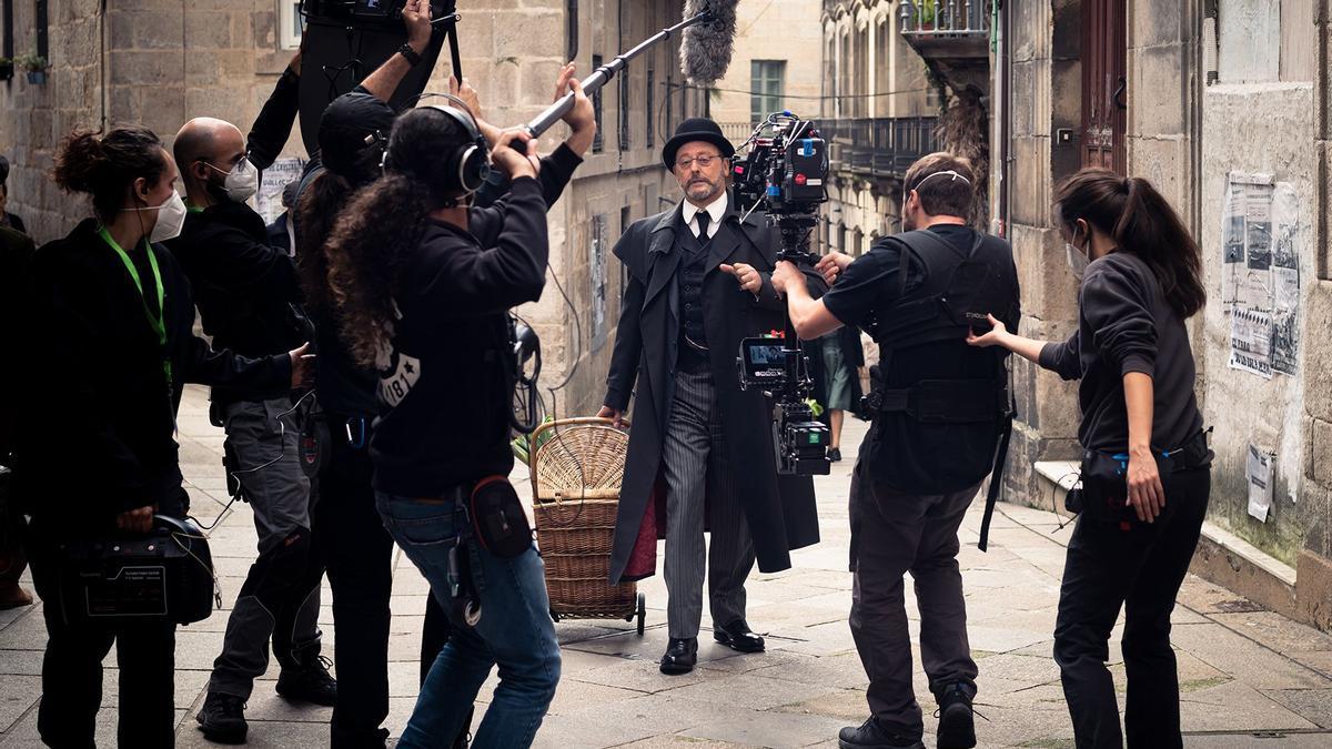 Momento de la grabación de la serie en Vigo.
