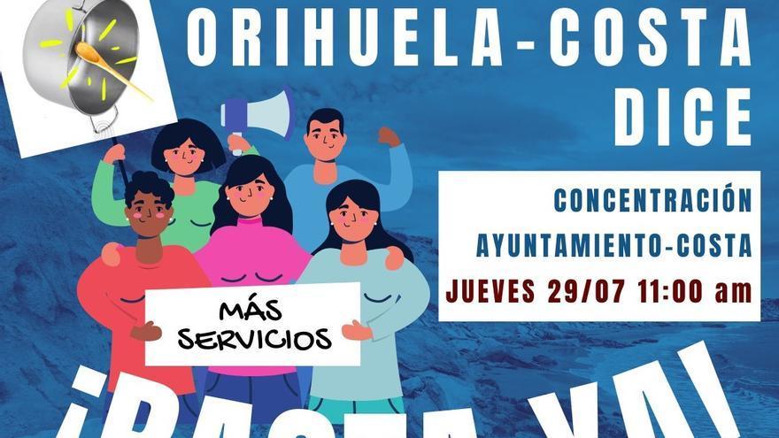 """Los vecinos de Orihuela Costa se movilizan el día 29 para denunciar """"graves deficiencias"""" en servicios básicos"""