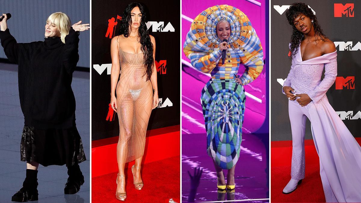 De izquierda a derecha, Billie Eilish, Megan Fox, Doja Cat y Lil Nas X, dándolo todo en la alfombra roja.