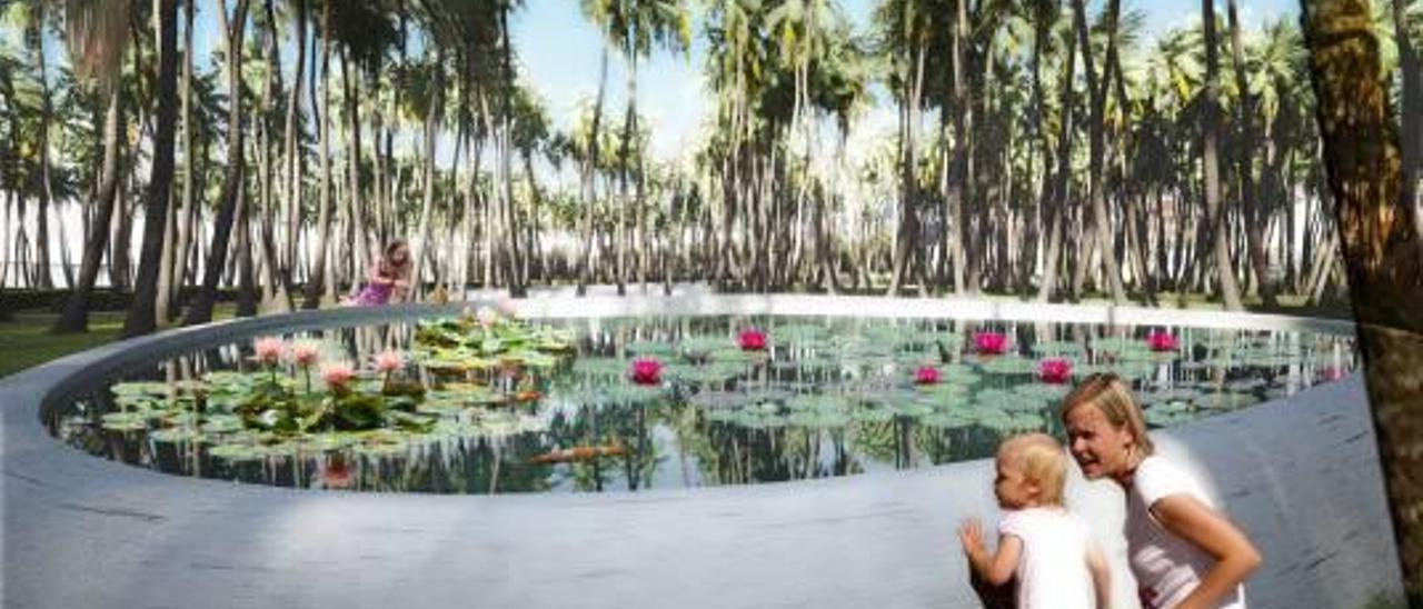 Las palmeras tienen gran protagonismo en el Parque Central diseñado por Gustafson.