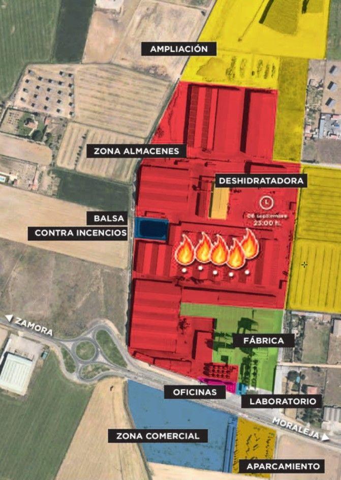 Mapa instalaciones de la sede central de Cobadu afectadas por el incendio.