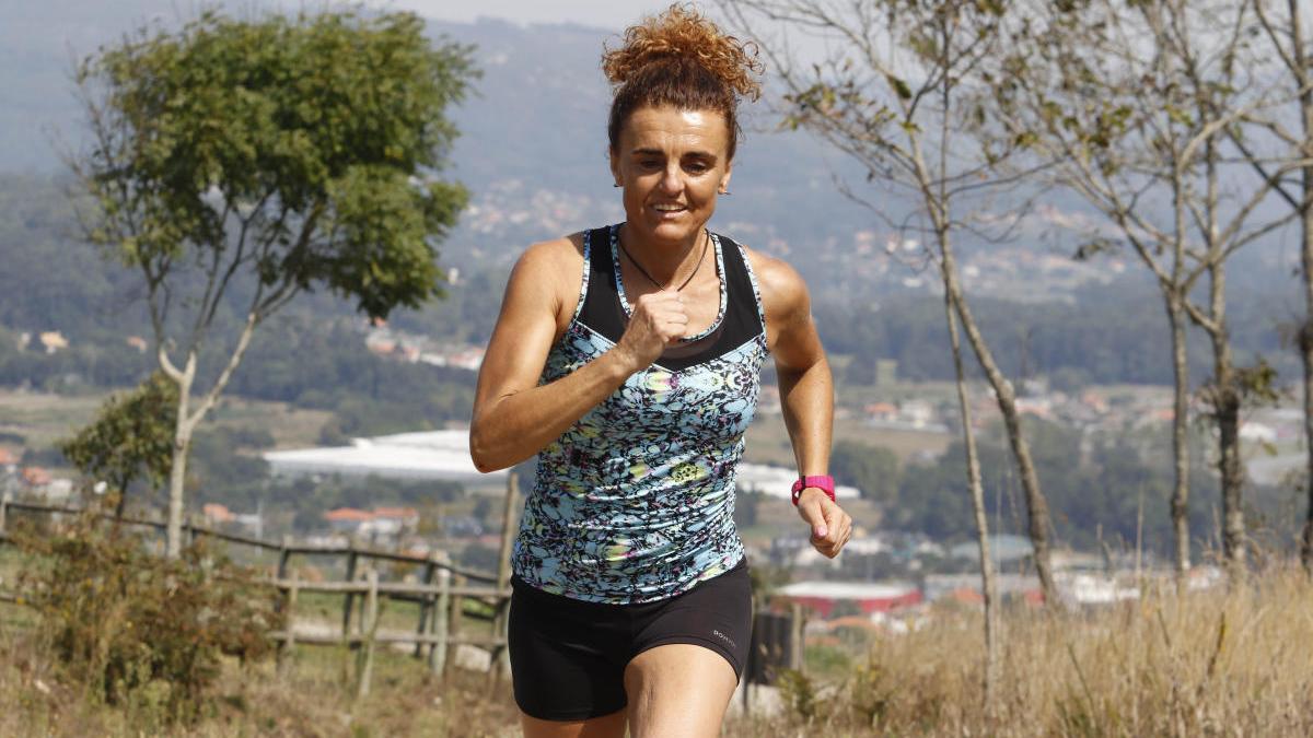 Julia Vaquero, en un reciente entrenamiento en A Guarda.