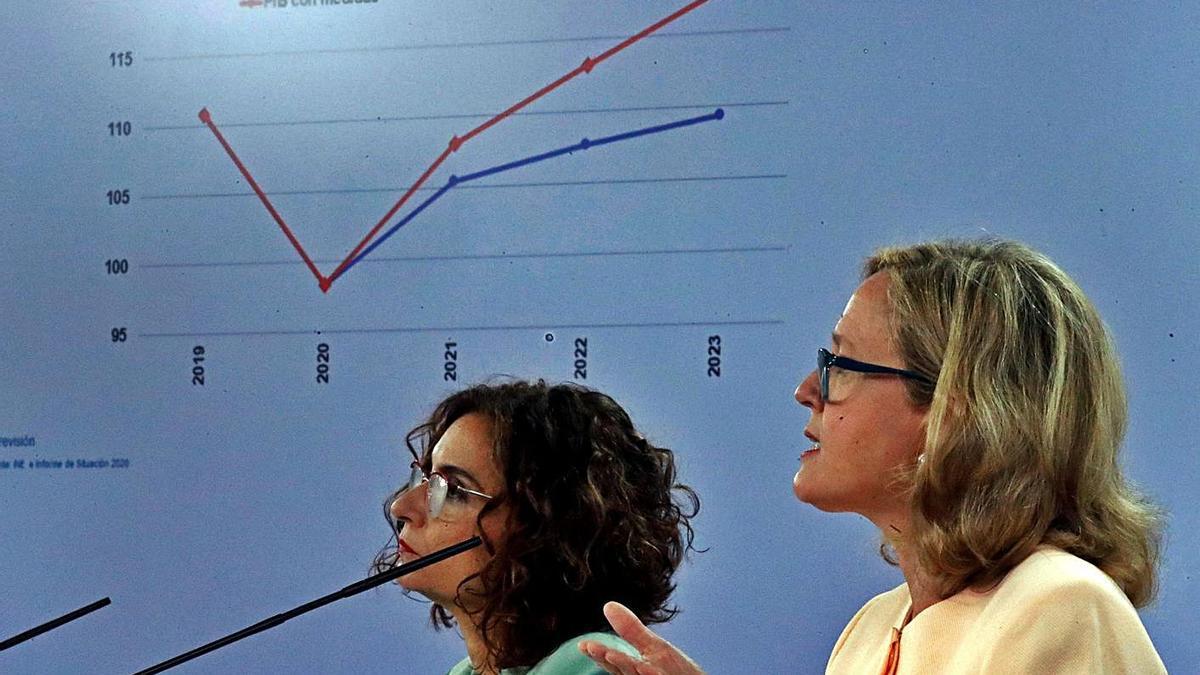 María Jesús Montero y Nadia Calviño, ayer.