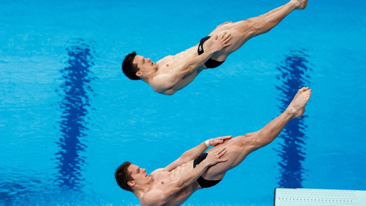 Synchronspringer bei den Olympischen Spielen in Tokio.