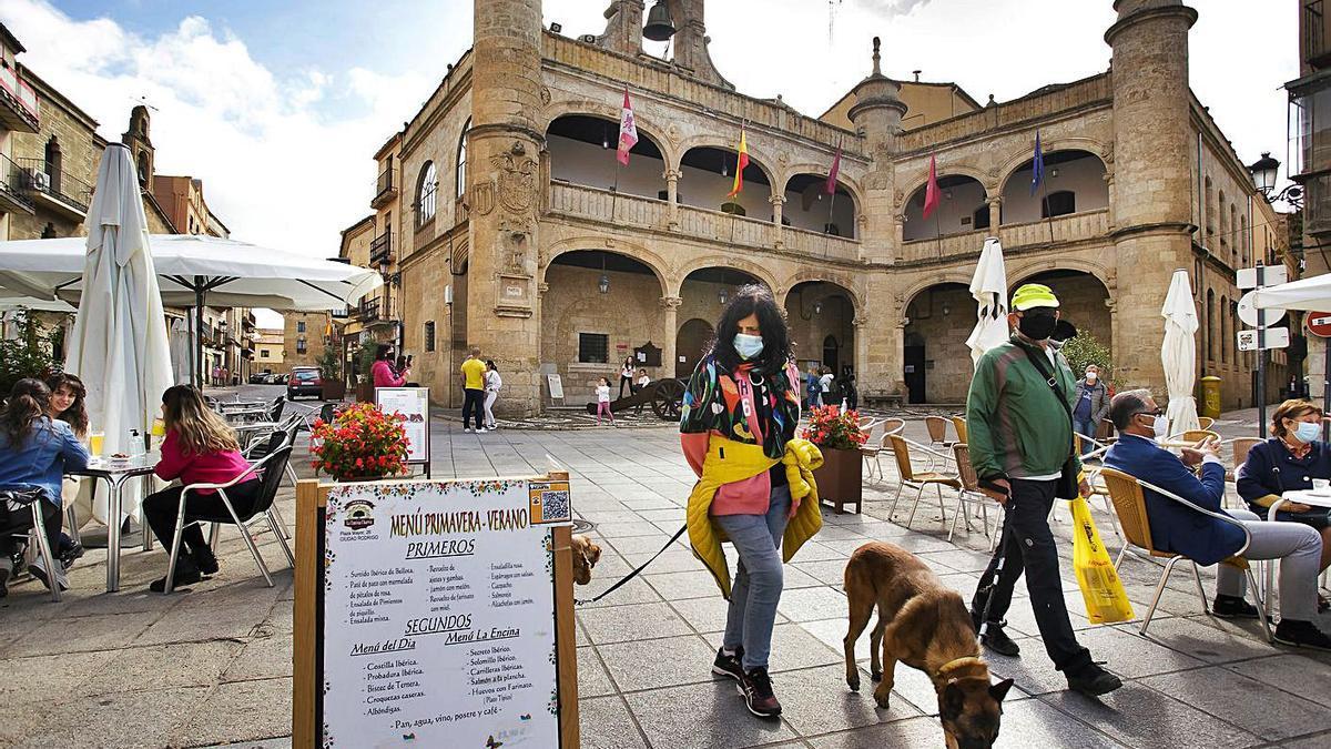 Dos turistas visitan Ciudad Rodrigo, en Salamanca, mientras pasean con sus perros. | Vicente - Ical
