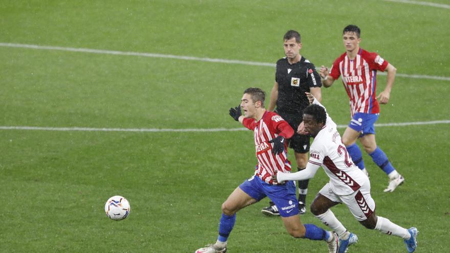 EN DIRECTO: Djuka y Álvaro Vázquez rozan el gol del Sporting ante el Albacete (0-0)