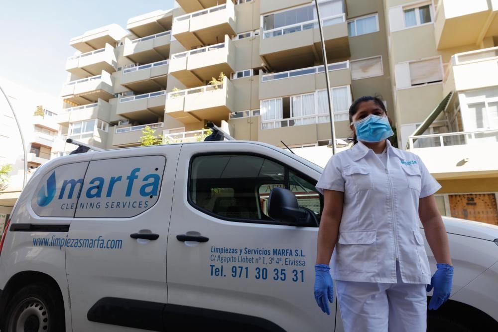 Nidia Báez, opraria de limpieza