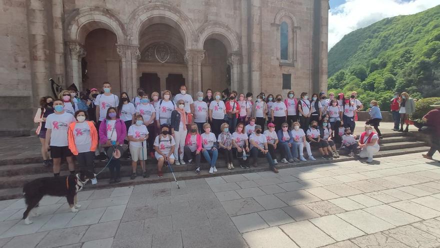 """Covadonga se llenó de color """"Rosa Palo"""" gracias a la marcha organizada desde Cangas de Onís contra el cáncer de mama"""