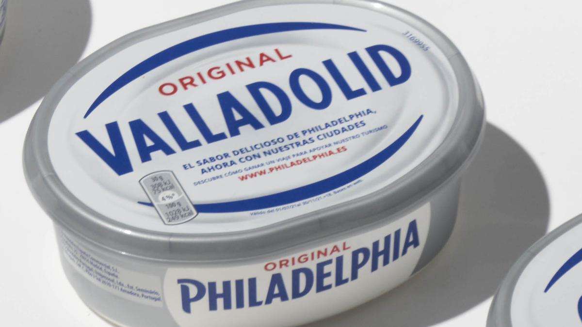 Envase de Philadelphia con el nombre de Valladolid.