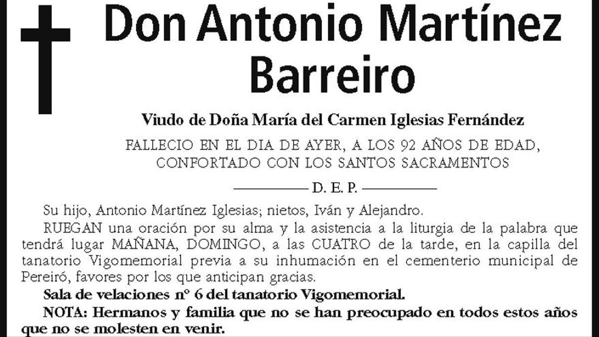 Esquela d'Antonio Martínez Barreiro