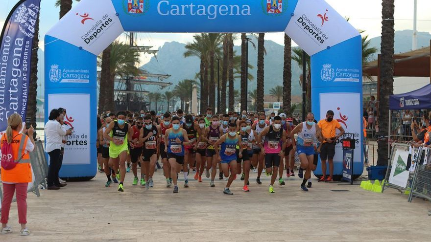 Manuel Marchena y Laura Nicolás, campeones de la 10K Puerto de Cartagena