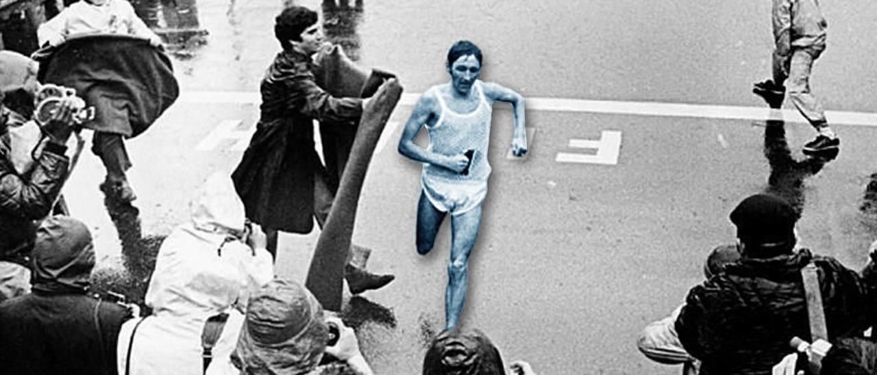 Hill gana la maratón de Boston, uno desus grandes triunfos.
