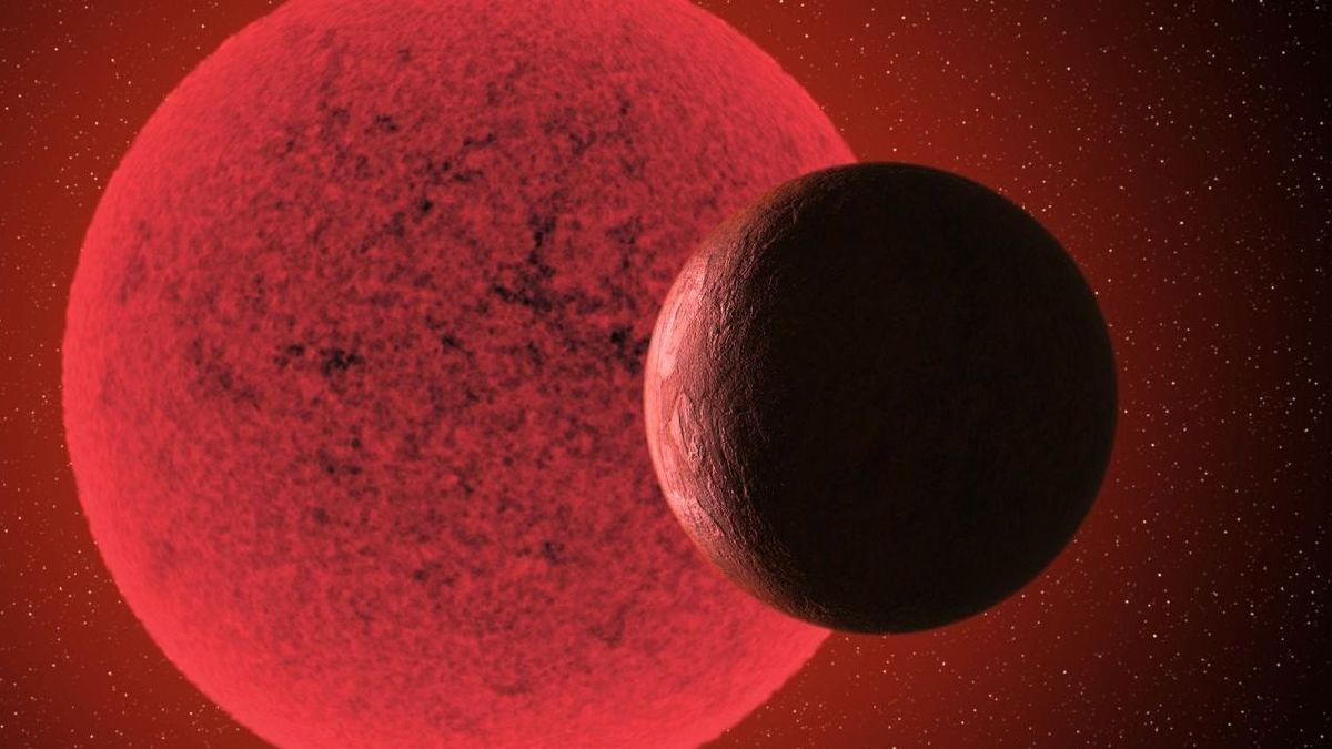 Artist's impression of the super-earth orbiting the red dwarf GJ 740.