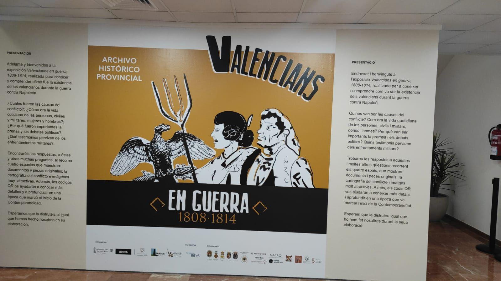 """Exposición """"Valencianos en guerra (1808-1814)"""" en el Archivo Histórico Provincial"""