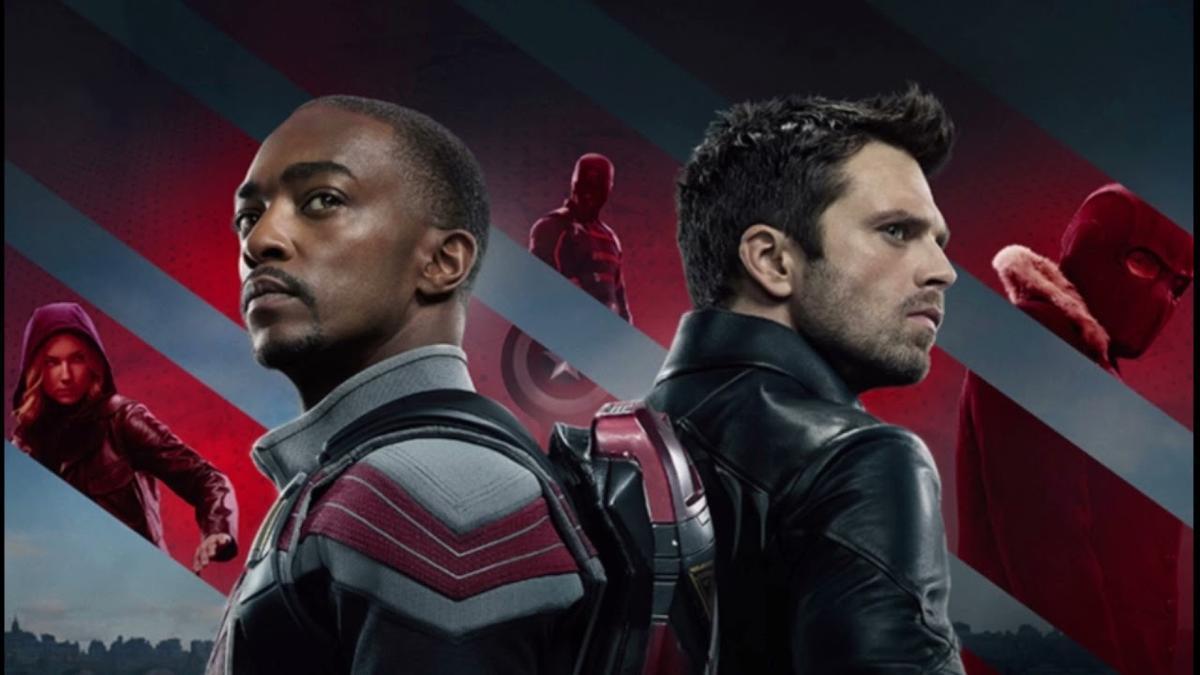 Cartel promocional de la nueva serie Marvel para Disney, El halcón y el Soldado de Invierno