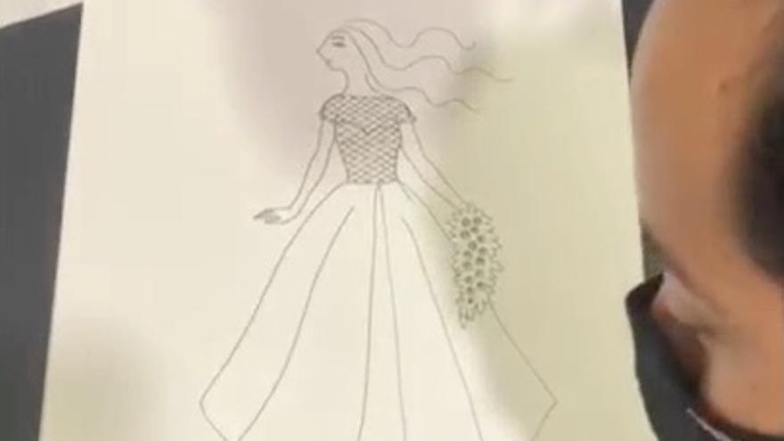 Alex Ceball dibuja un día para recordar: la prueba final del vestido de novia