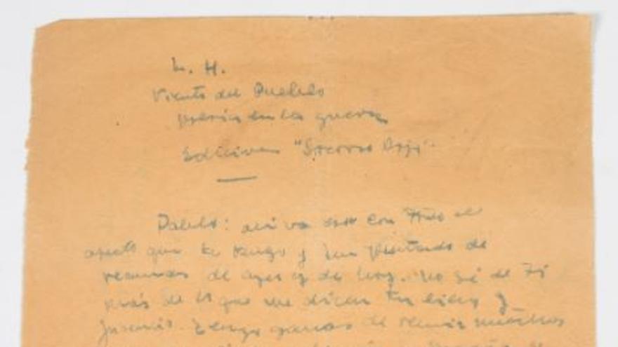 El propietario de la supuesta carta de Miguel Hernández a Neruda la retira de la subasta