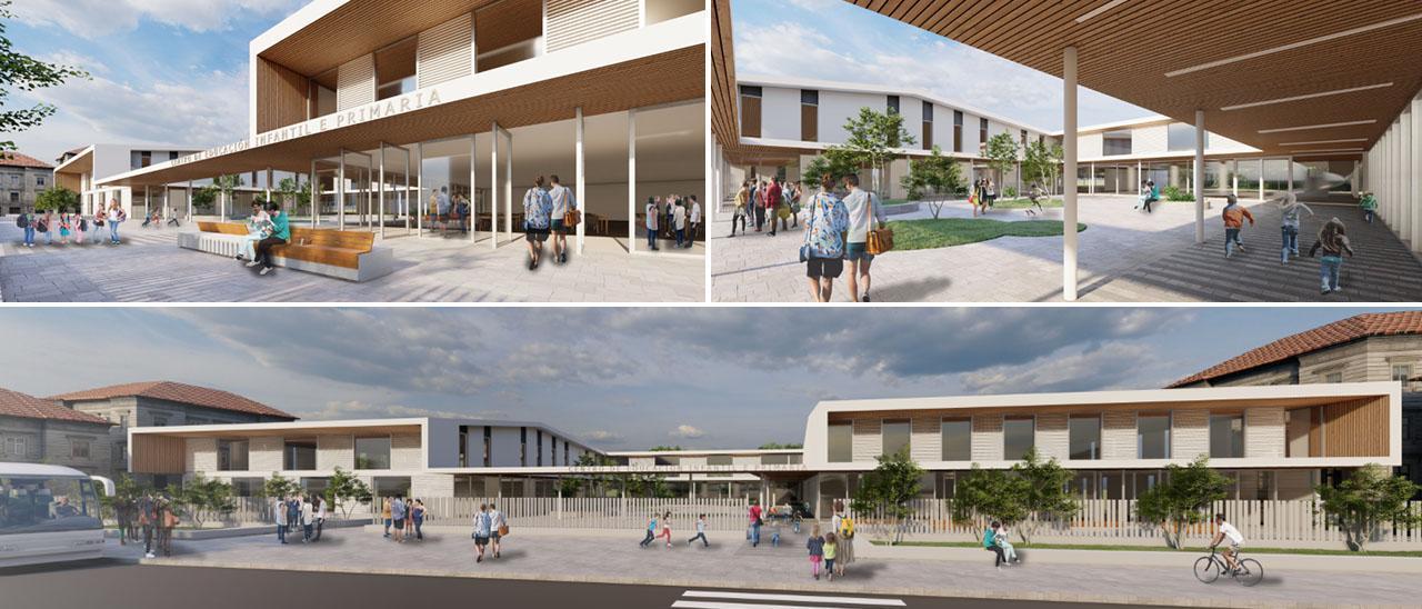 Recreaciones de modelos de acceso exterior, comedor y porche de un colegio