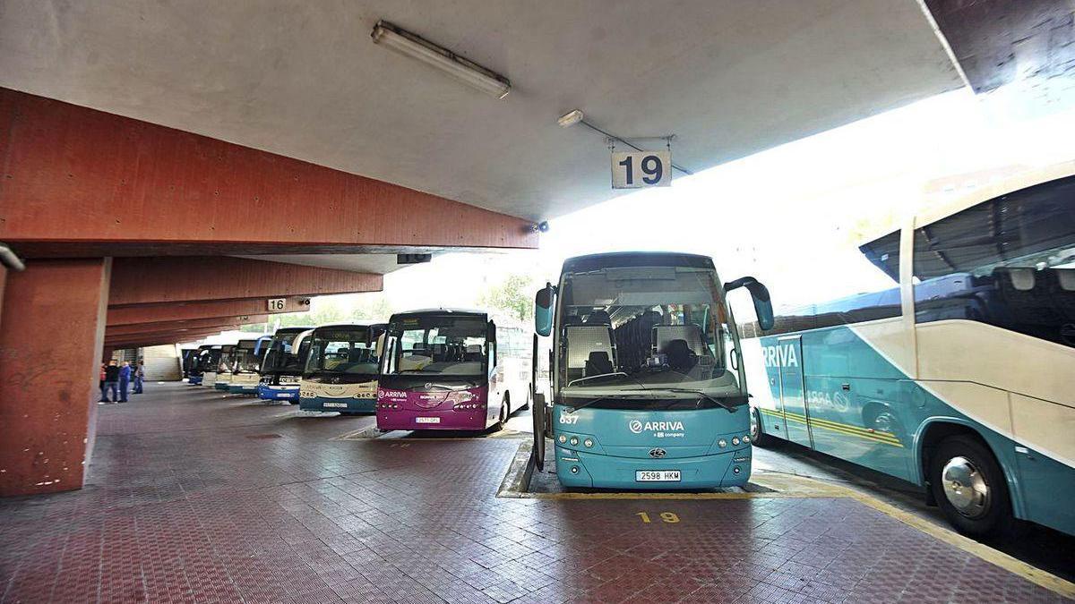 Varios autobuses en la estación de A Coruña.