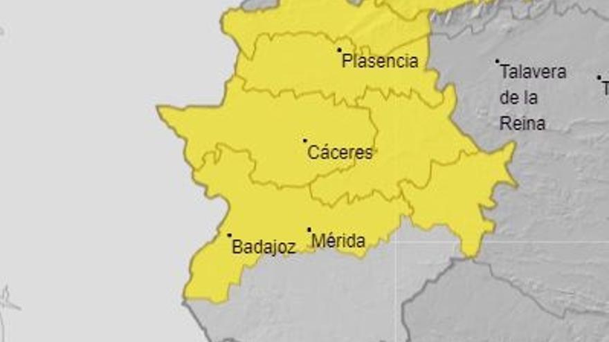 El 112 de Extremadura activa la alerta amarilla por lluvias este lunes y el martes