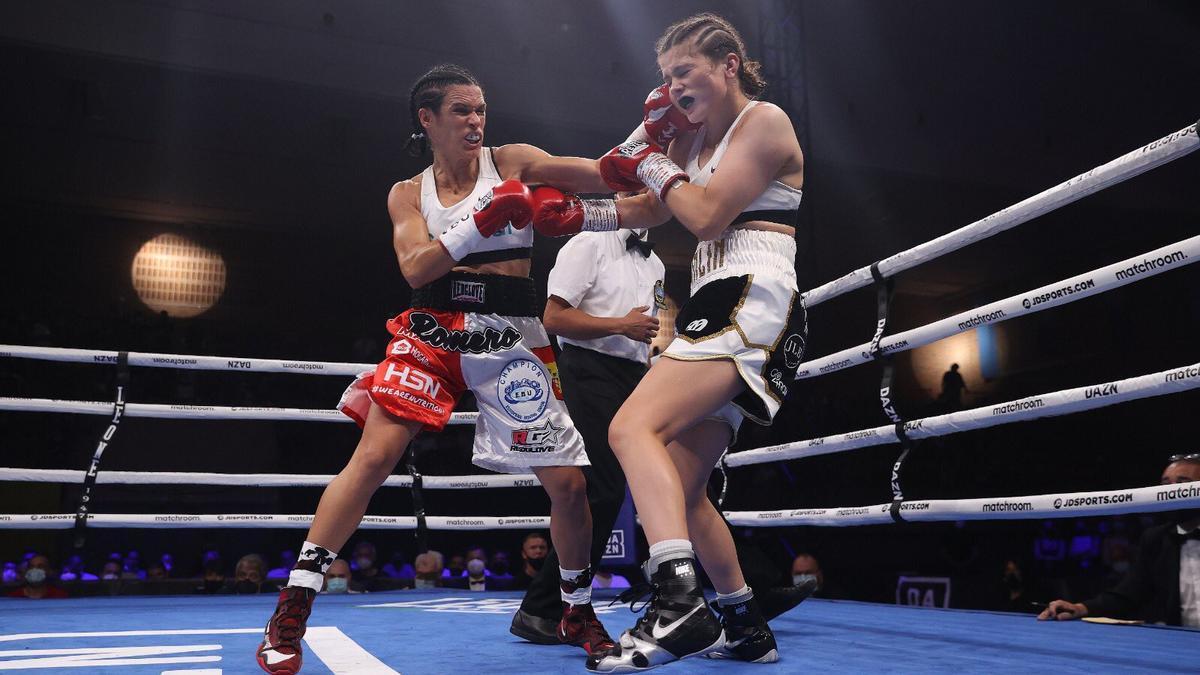 Mari Carmen Romero, durante el combate en el que ha revalidado su título europeo.